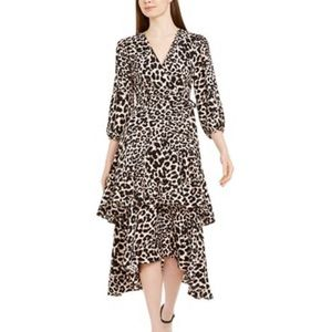 Calvin Klein Animal-Print Surplice Tiered Dress